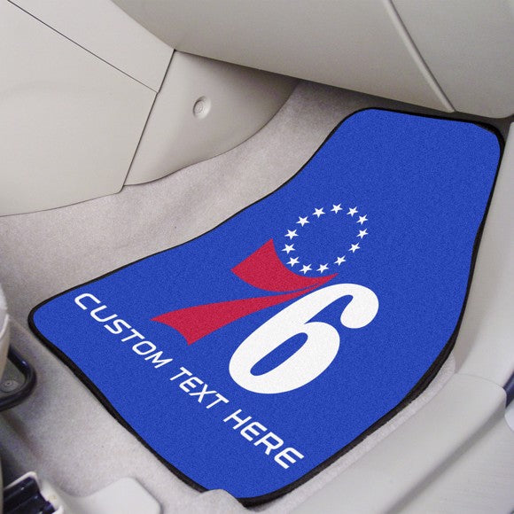 "NBA - Philadelphia 76ers Personalized Carpet Car Mat Set 17"" x 27"""