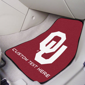 "Oklahoma Personalized Carpet Car Mat Set 17"" x 27"""