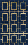 Navy Blue Gold Luxury Area Rug