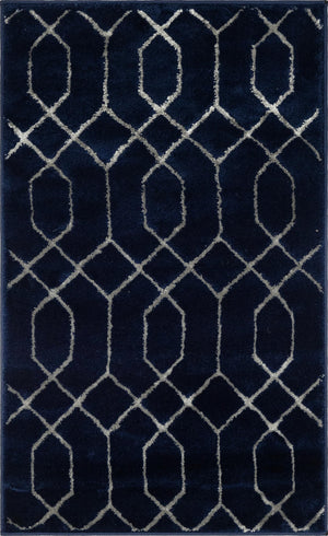 Navy Blue Silver Luxury Area Rug