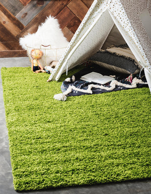 Grass Green Blue Shag Rug