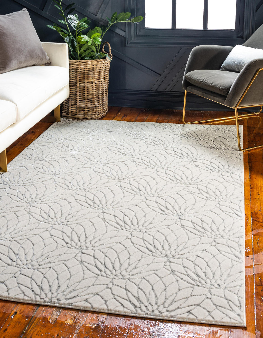 White Silver Luxury Area Rug