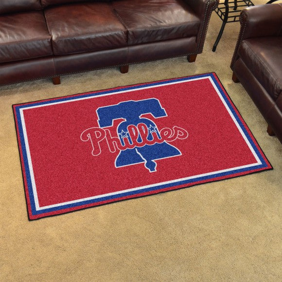 "MLB - Philadelphia Phillies 4'x6' Plush Rug 59.5"" x 88"""