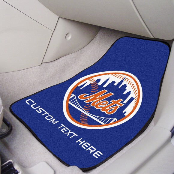 "MLB - New York Mets Personalized Carpet Car Mat Set 17"" x 27"""