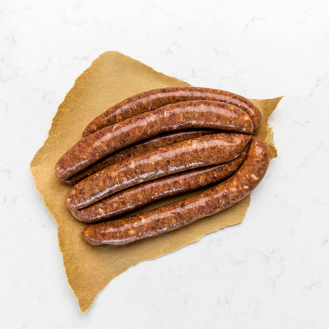 Beef Bacon and Liver Sausages 500g
