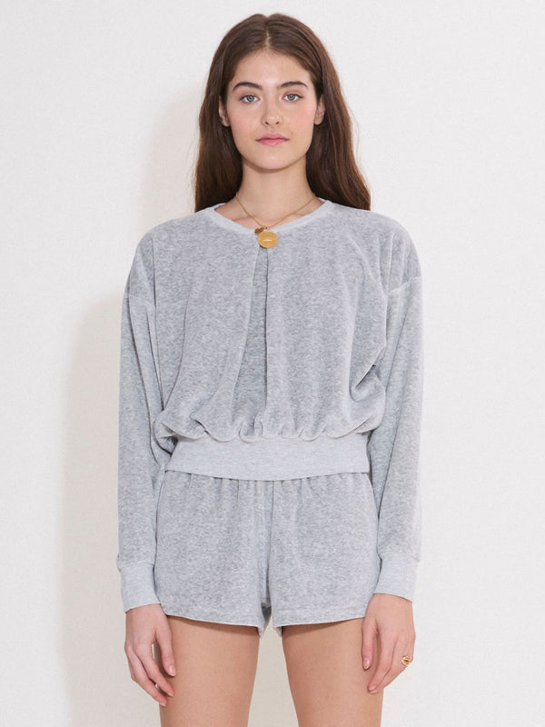 Front Pleat Sweatshirt -  Grey Marle