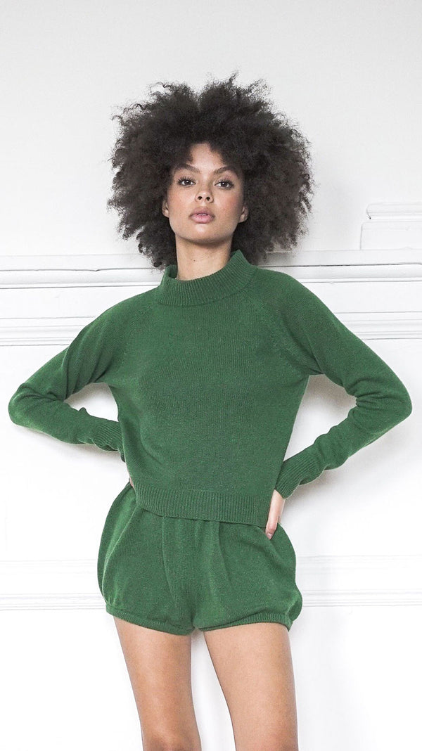 Lightweight Crew Neck Sweater - Bottle Green