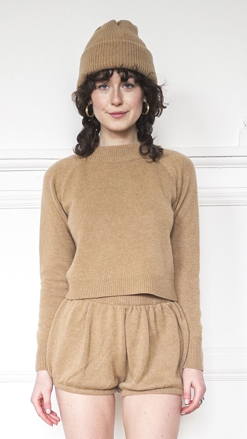 Lightweight Crew Neck Sweater - Camel
