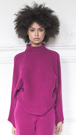 Funnel Neck Sweater - Cerise