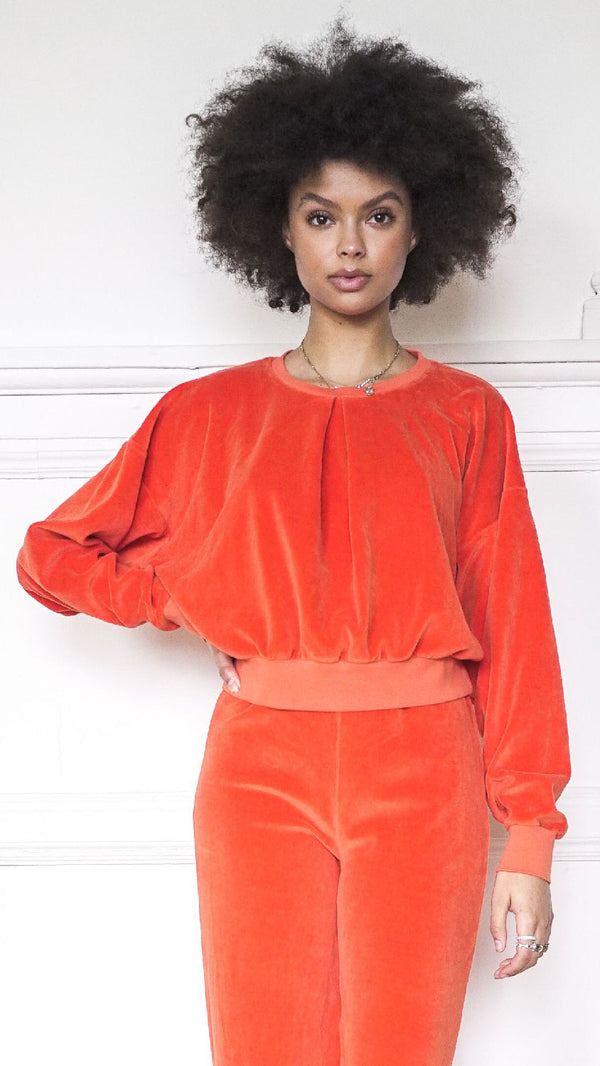Front Pleat Sweatshirt -  Clementine