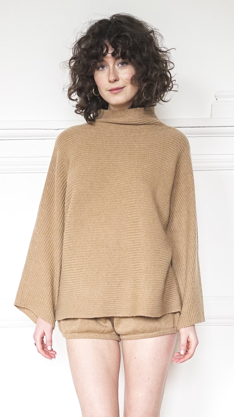 Funnel Neck Sweater - Camel
