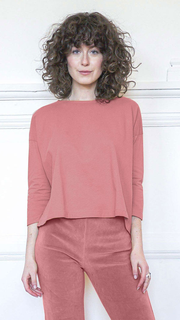 3/4 Sleeve A-Line Shirt - Desert Rose