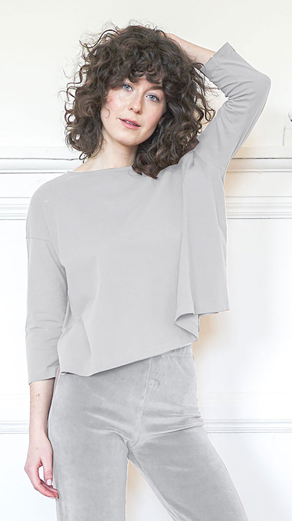 3/4 Sleeve A-Line Shirt - Dove Grey