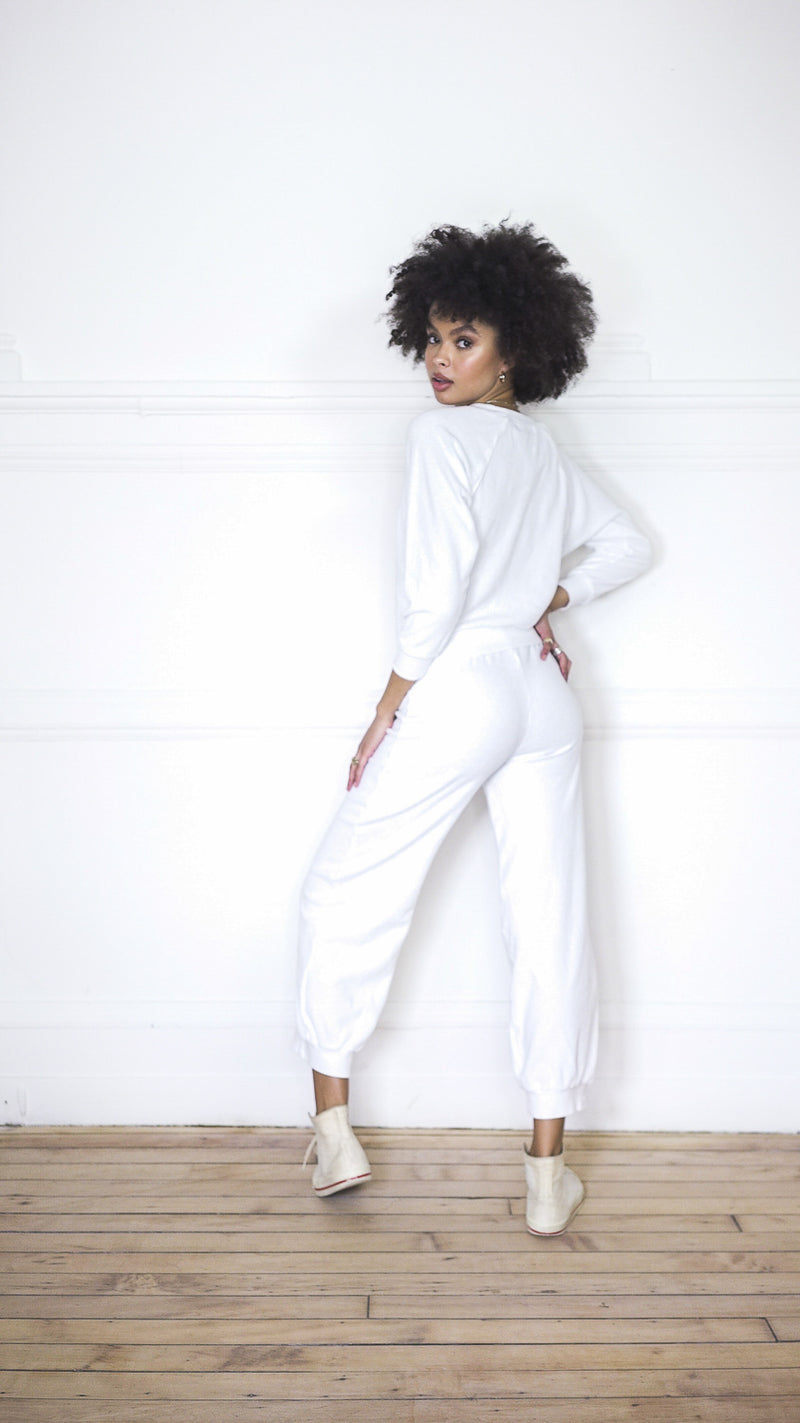 High Waist Harem Pants - White