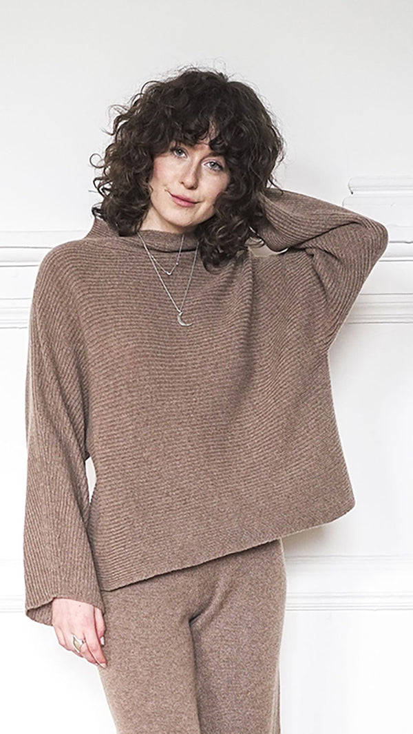 Funnel Neck Sweater - Fawn