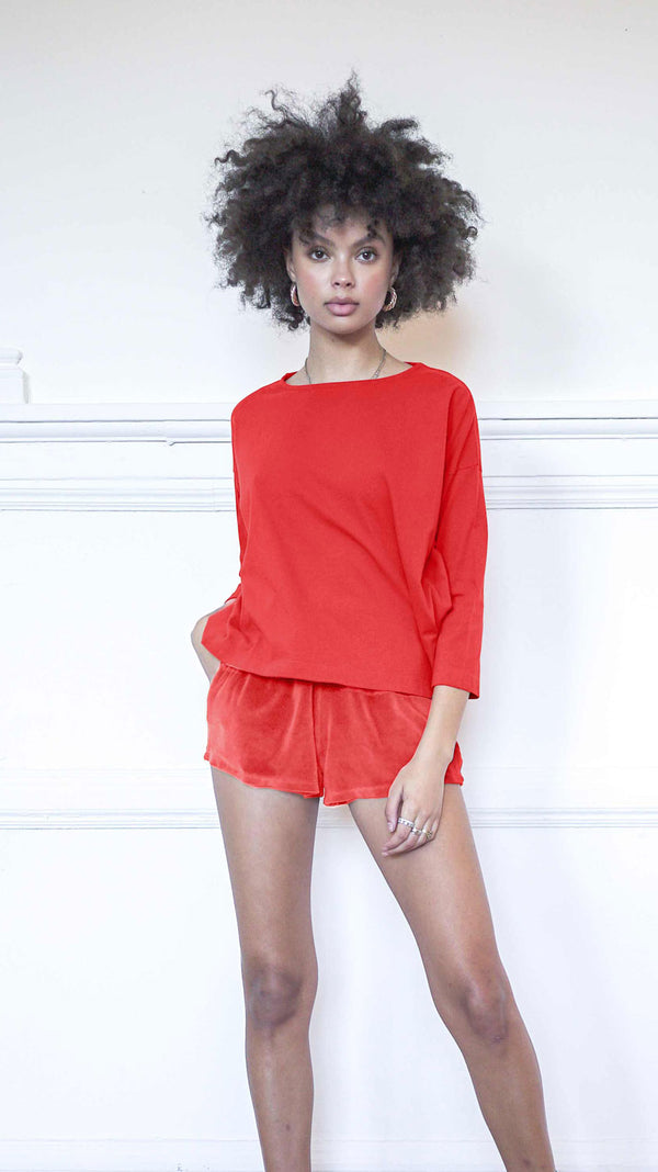 3/4 Sleeve A-Line Shirt - French Red