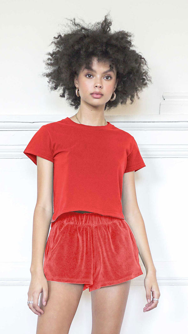 Cropped T-Shirt - French Red