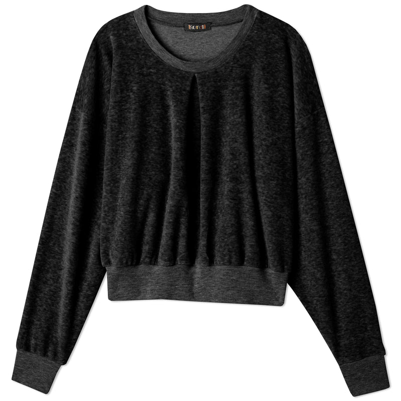 Front Pleat Sweatshirt -  Black