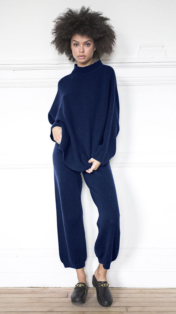 High Waist Harem Pants - Navy