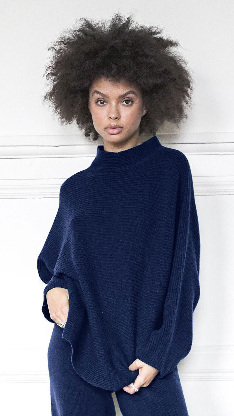 Funnel Neck Sweater - Navy