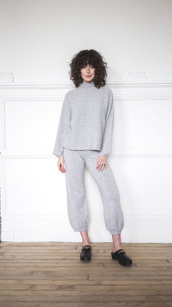Funnel Neck Sweater - Grey Marle