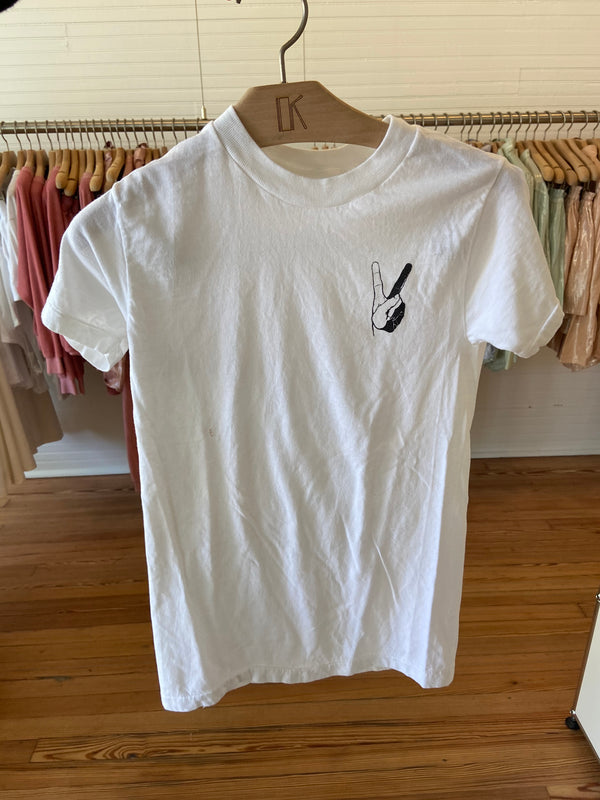 VINTAGE M/L Peace Sign V-NECK T-shirt (Logo on chest corner)