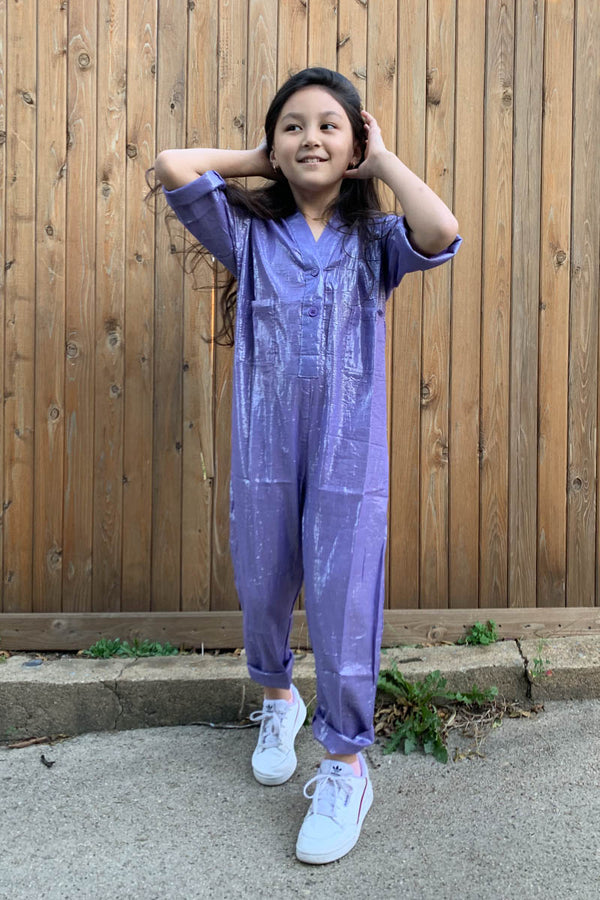 Kids Lurex Jumpsuit - Lavender
