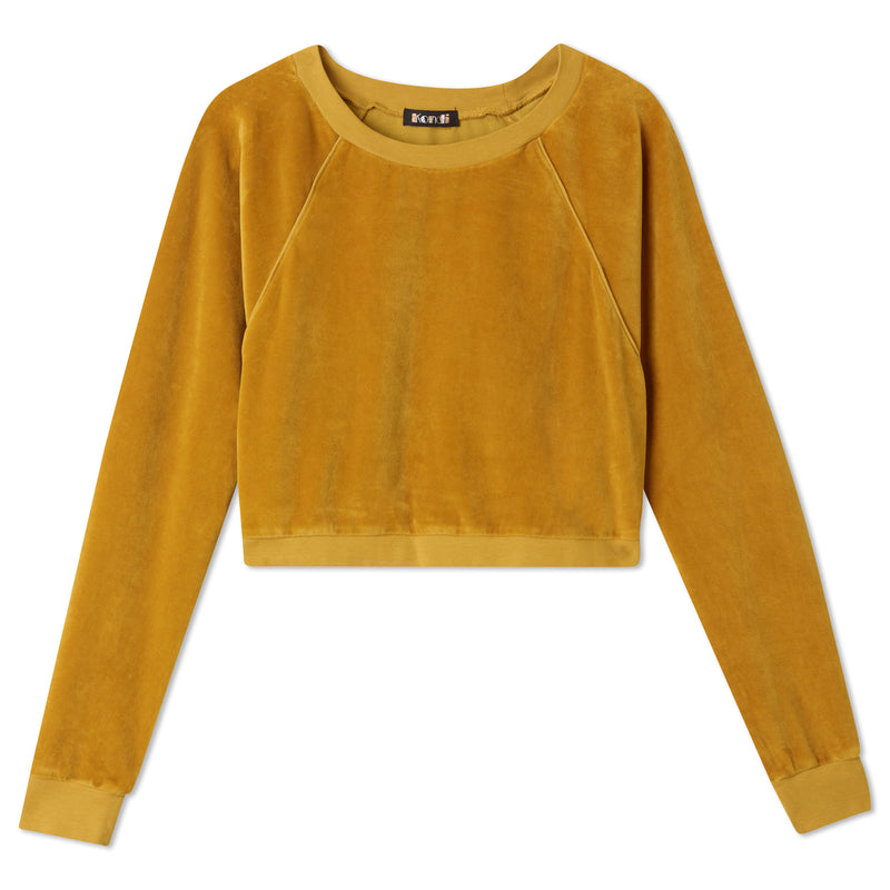Cropped Crew Top -  Gold
