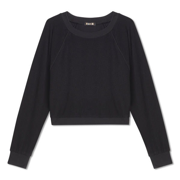 Cropped Crew Top -  Black