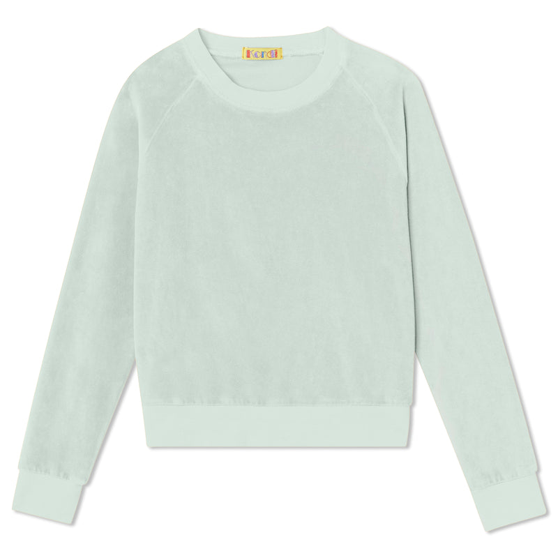 Kids Crew Top - Sea Foam Velour