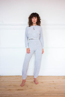 Cropped Crew Top -  Dove Grey