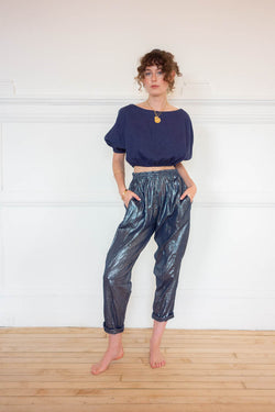 High Waist Pocket Pants - Navy