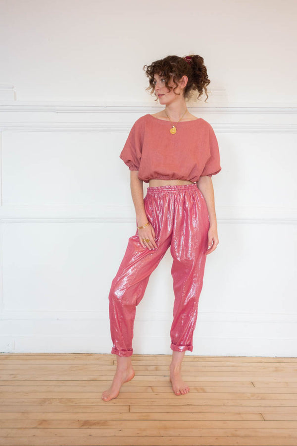LUREX PANTS - ROSE