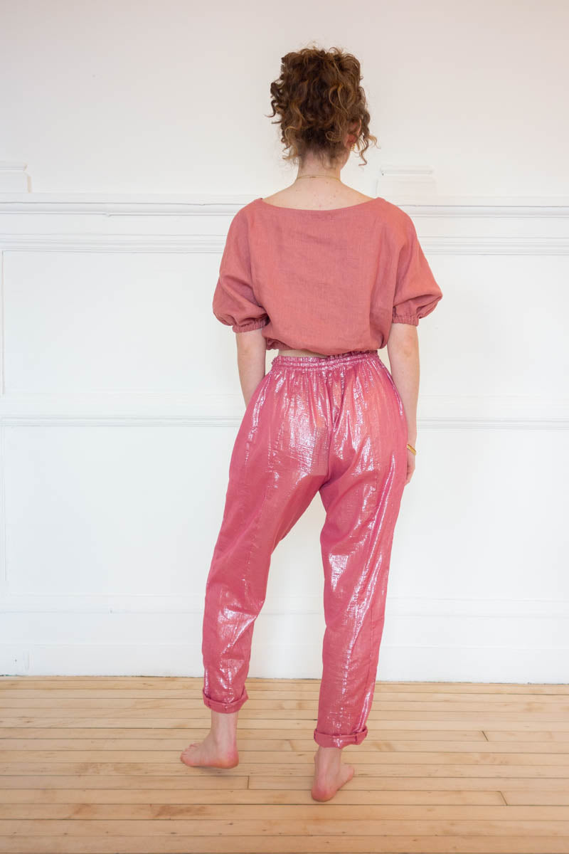 High Waist Pocket Pants - Rose