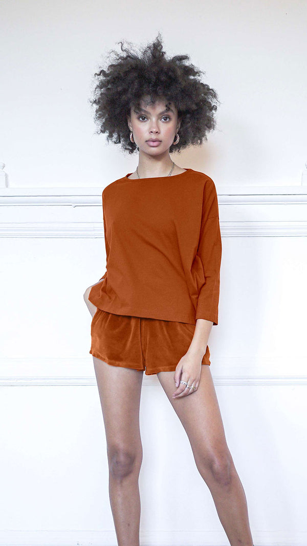 3/4 Sleeve A-Line Shirt - Rust