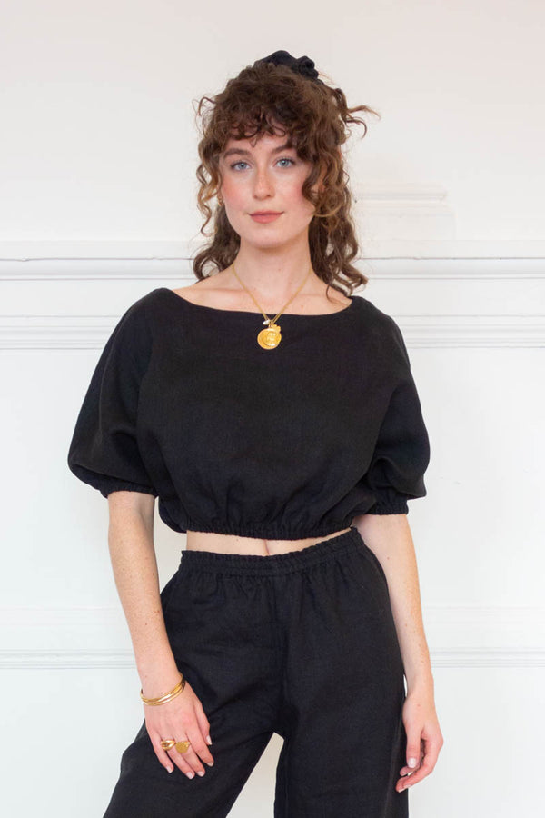 Safari Cropped Top - Coal