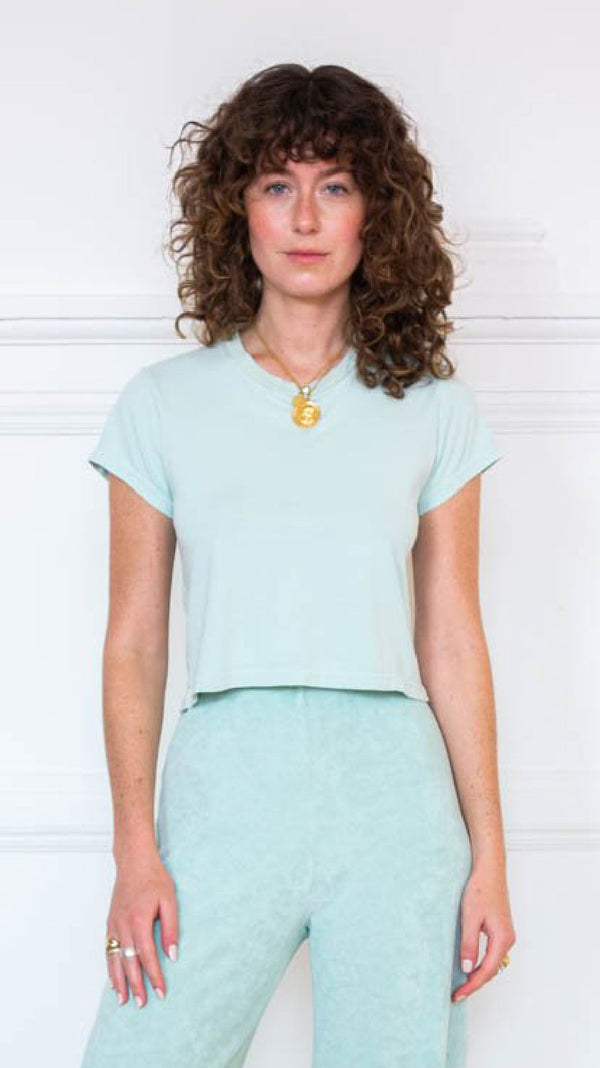 Cropped T-Shirt - Seafoam