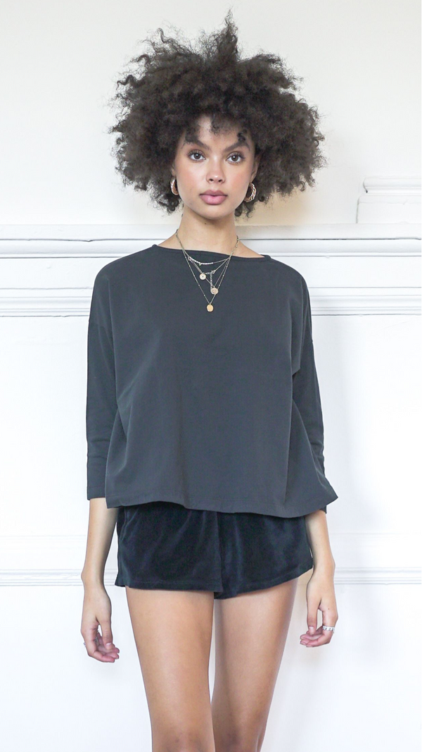 3/4 Sleeve A-Line Shirt - Coal