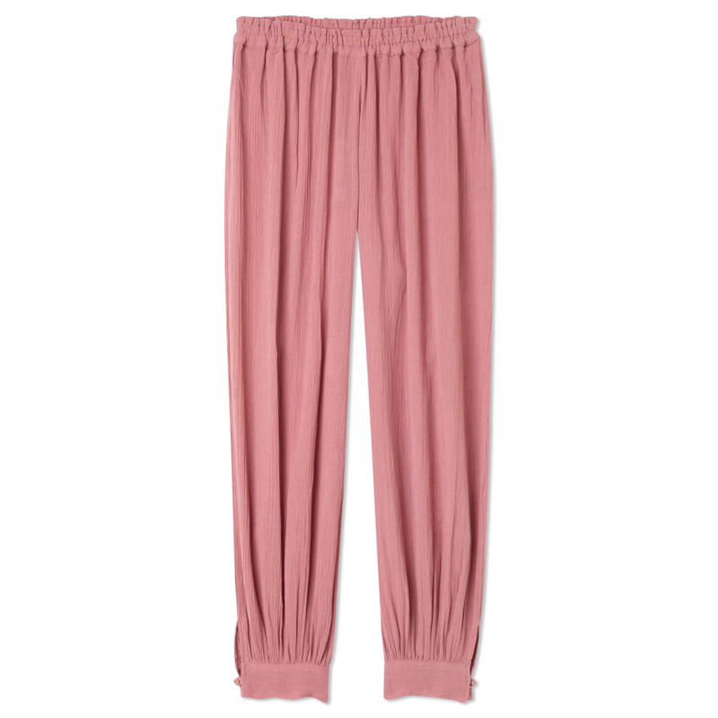 Button Cuff Harem Pants - Desert Rose