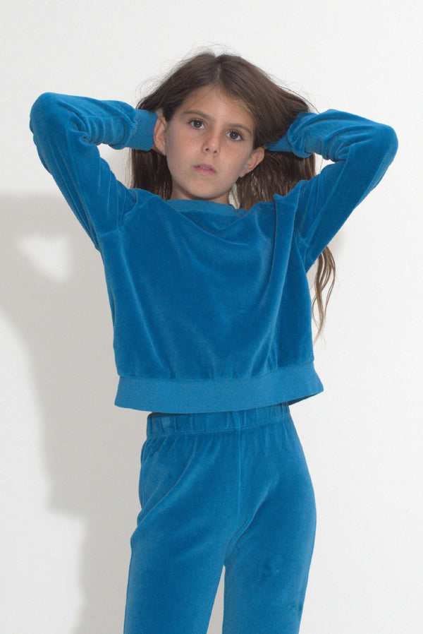 Kid's Crew Top - Aegean Velour