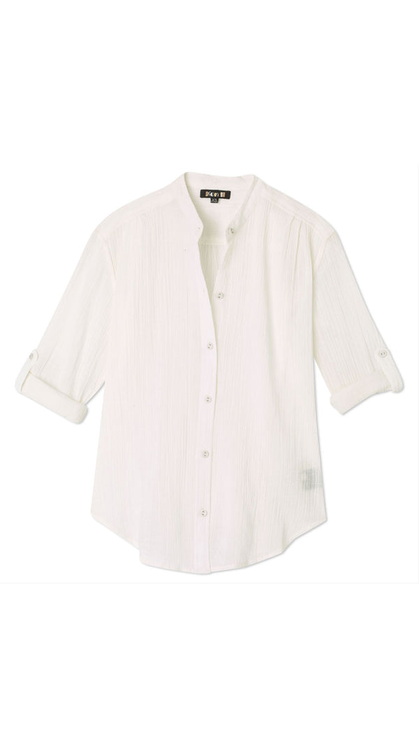 Button Blouse - White