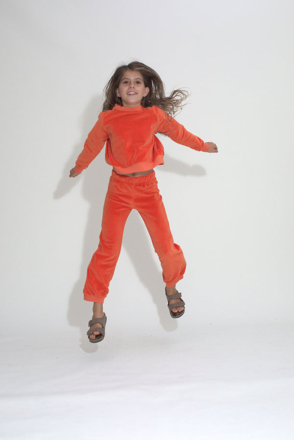 Kid's Crew Top - Clementine Velour