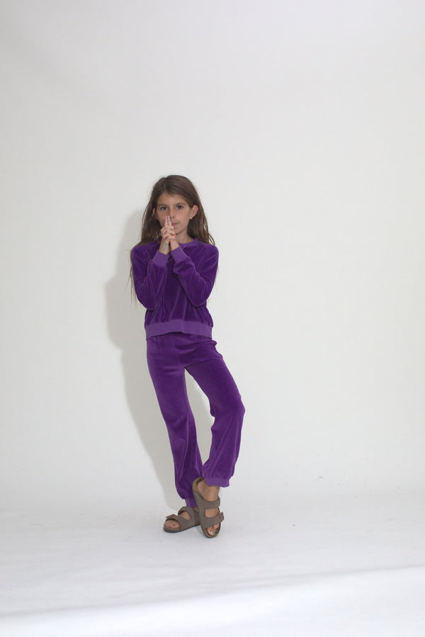 Kid's Crew Top - Violet Indigo Velour