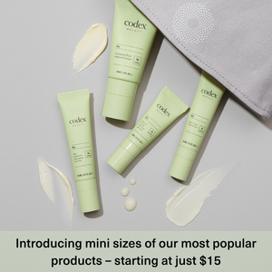 codex beauty, new skincare launch, mini size, travel size skincare
