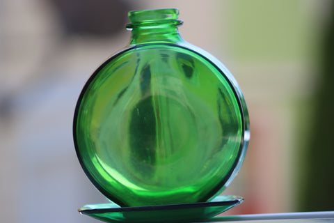 Vintage SUNSWEET Green Emerald Glass Bottle 1950