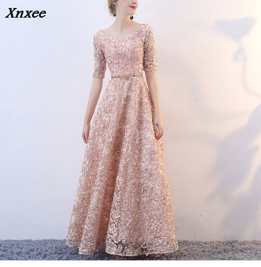 b032e8639143 Xnxee V-neck Half Sleeves Flowers A-line Vintage Elegant Lace Up Party  Frocks