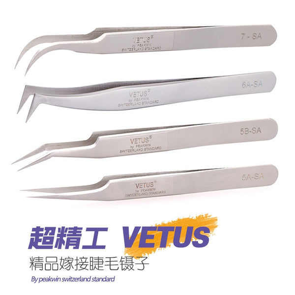 100% brand Stainless Steel anti-static eyelash tweezers superhard Eyelash Extension tool Best Quality Tweezer - Candid Lady