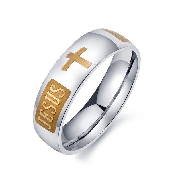 2017 Fashion 8mm 316L Titanium Steel Silver Plated Christian Jesus Cross Letter Bible Ring For Wedding Band Ring Men Women - Candid Lady