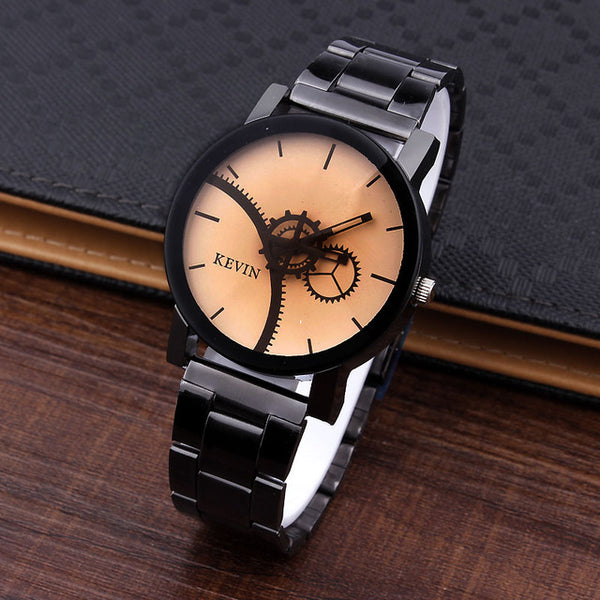 KEVIN New Design Women Watches Fashion Black Round Dial Stainless Steel Band Quartz Wrist Watch Mens Gifts relogios feminino - Merla's Vault