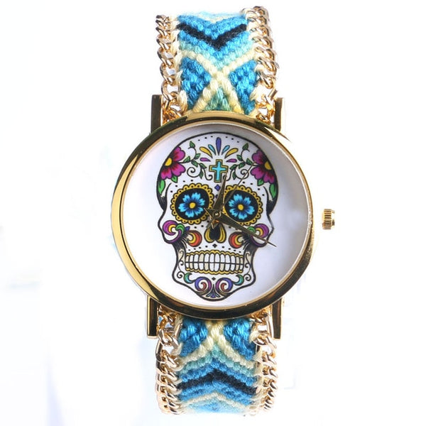 Elegant New Design 4 Colors Sugar Skull Women/Lady Wrist Wacth With Fabric Band Best Gifts Free Shipping - Merla's Vault